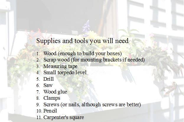 list of supplies and tools you will need