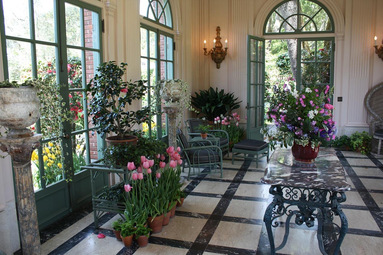 beautiful flower garden inside an apartment