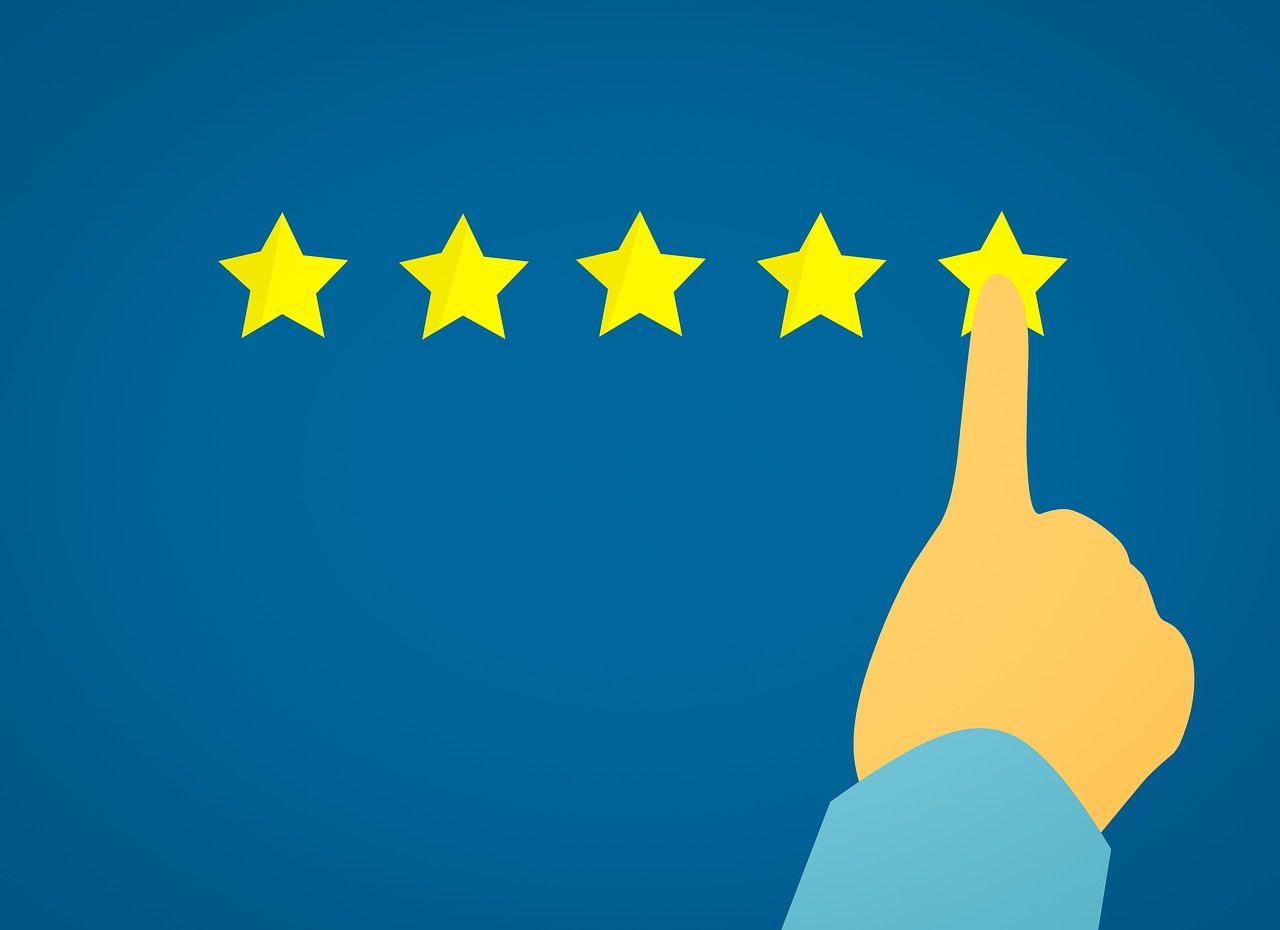 finger pointing to fifth star rating