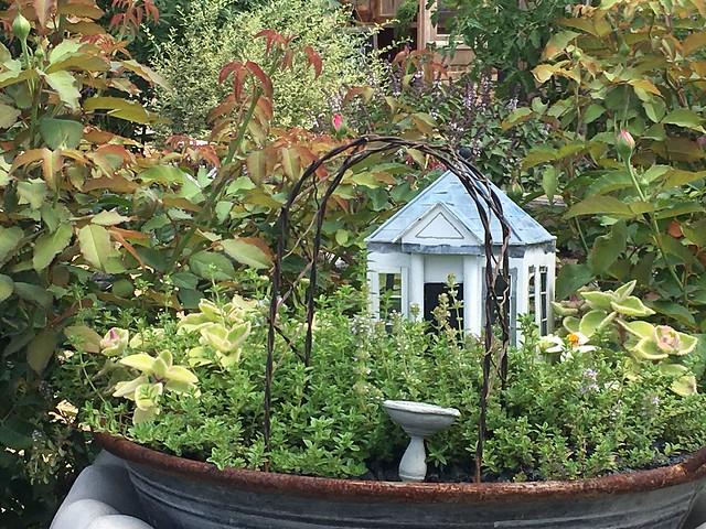 miniature garden with archway
