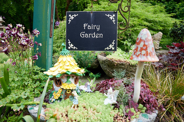 fairy garden sign on miniature garden