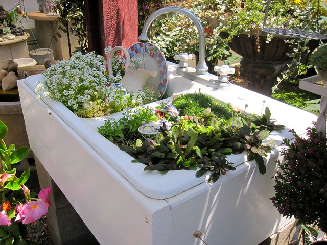 white sink miniature garden