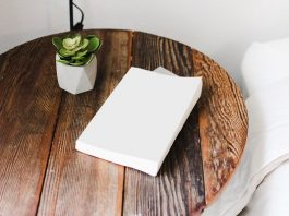 book and plant above wooden table